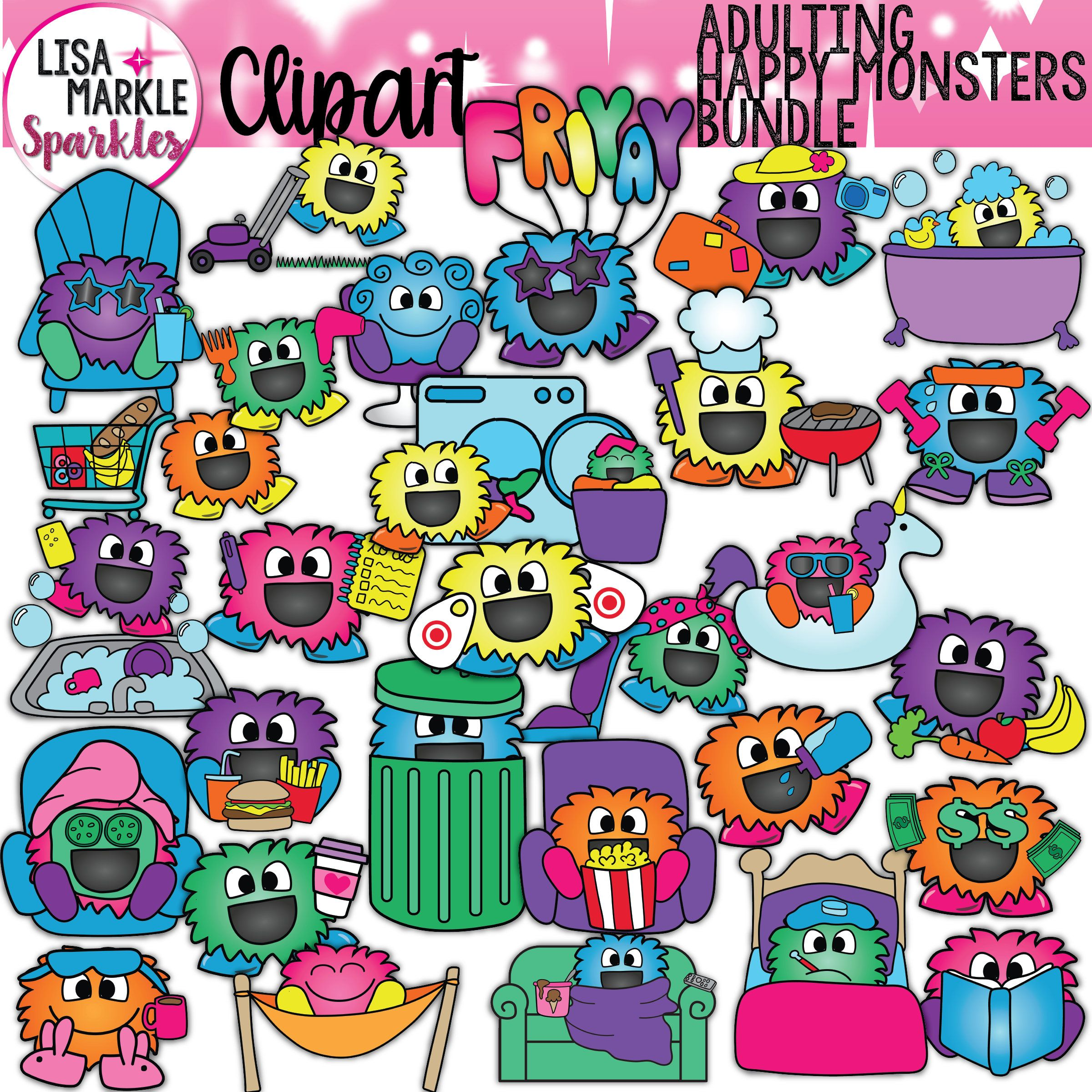 Workout monster clipart clip transparent download Adulting Planner Clipart Happy Monsters Vacation Pool Spa ... clip transparent download