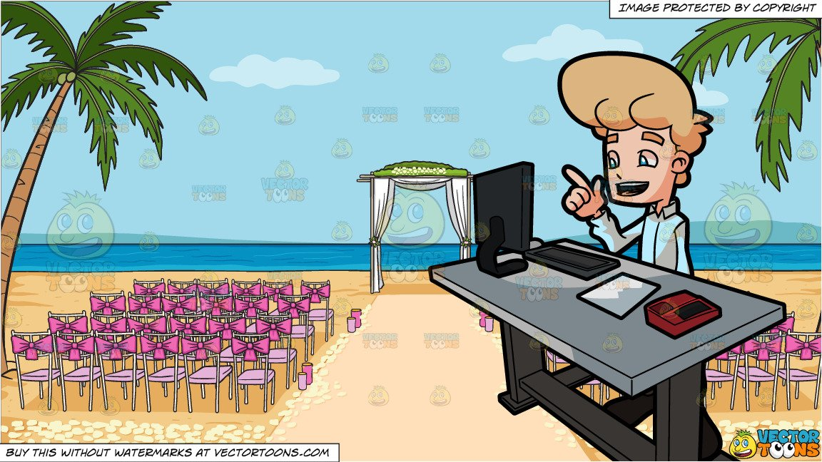 Workplace ceremony clipart clipart transparent A Man Happily Thinks Of An Idea While At Work and A Beach Wedding Ceremony  Venue Background clipart transparent