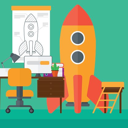 Workspace clipart png transparent Background of Workspace With Business Start UP Rocket ... png transparent