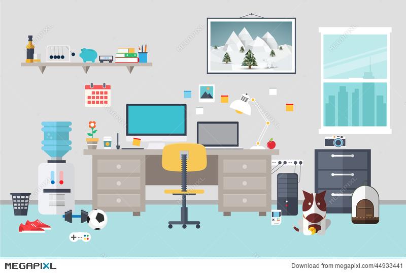 Workspace clipart banner royalty free Designer Workspace In The Work Room Illustration 44933441 ... banner royalty free