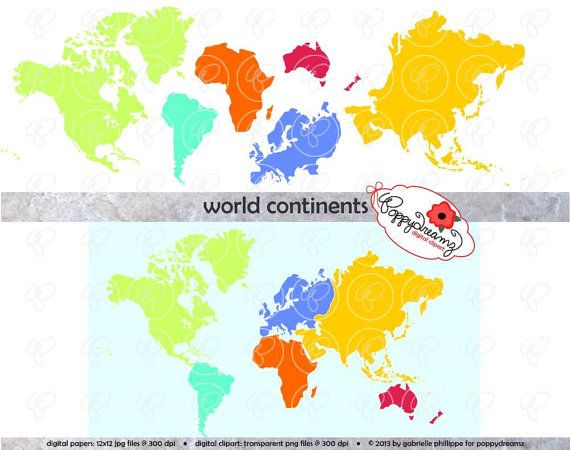 World continent clipart fun freeuse World Continents Digital Clip Art: North America by ... freeuse
