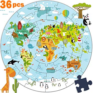 World continent clipart fun clip free library HOWADE Kids Wooden World Map Jigsaw Puzzle Toy, Jumbo Floor ... clip free library
