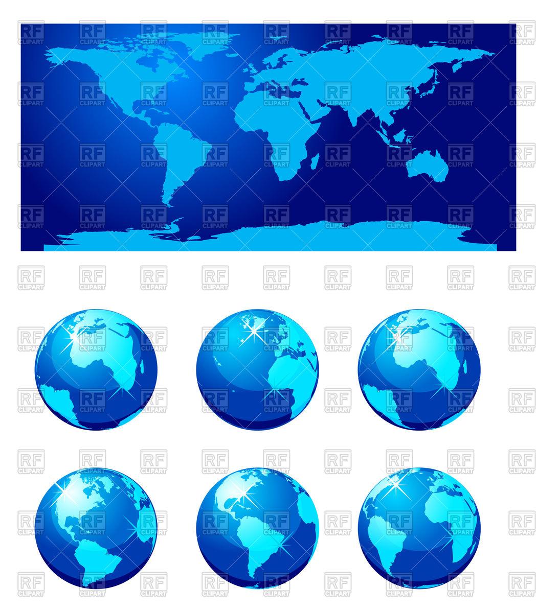 World globe map clipart image free Set of world globe and world map Vector Image #74197 – RFclipart image free