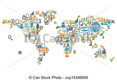 World map clipart vector picture library Clipart Vector of World map composed from social web icons and ... picture library