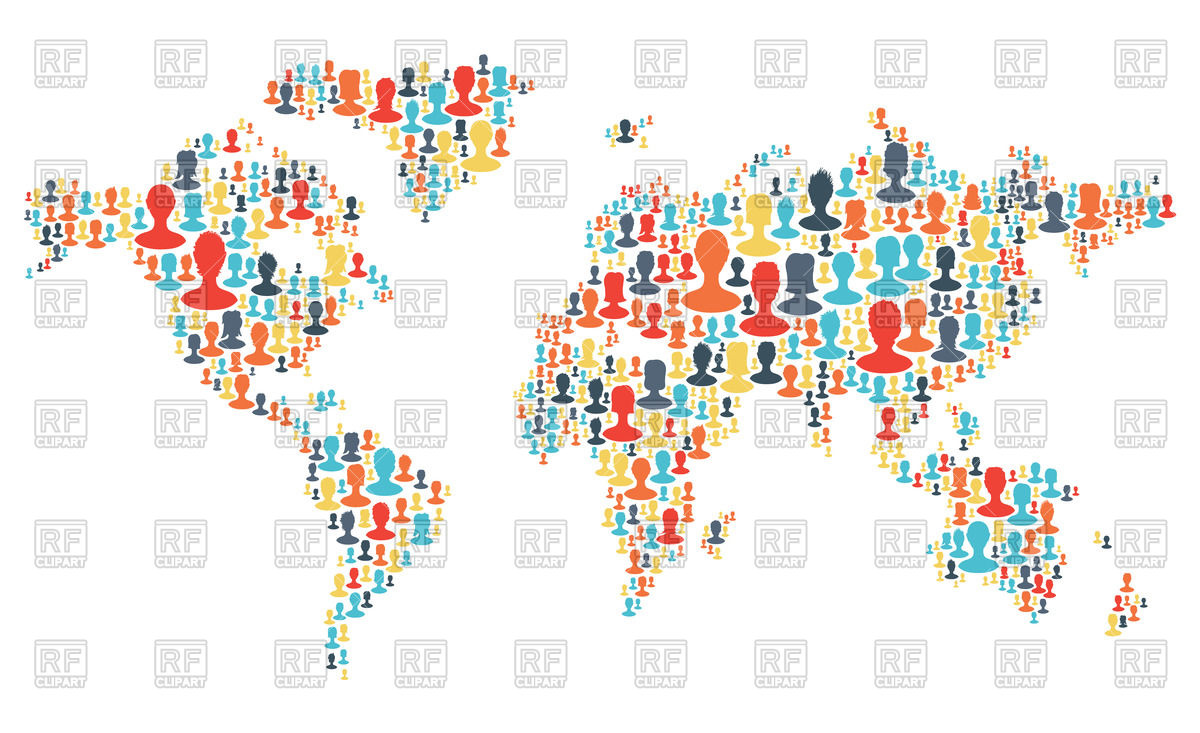 World map clipart vector picture freeuse download World map made from colorful people silhouettes Vector Image ... picture freeuse download