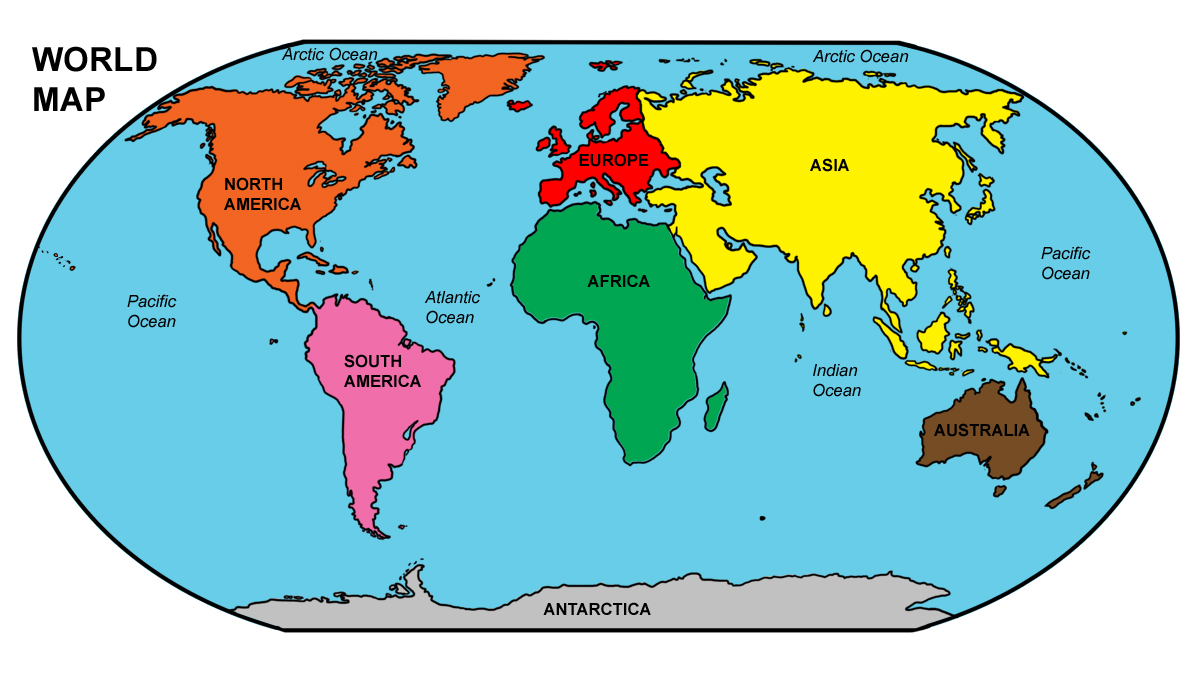 World map labeled clipart jpg black and white download Clip Art: World Map 01 Color Labeled | abcteach jpg black and white download
