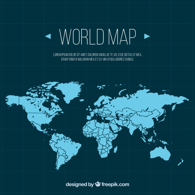 World map outline clipart cartoon free download Blue world map in flat design Vector | Free Download free download
