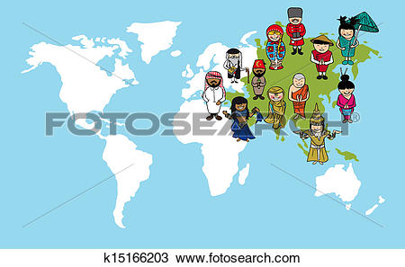 World map outline clipart cartoon clip art download Clipart of Asian people cartoons, world map diversity illustration ... clip art download