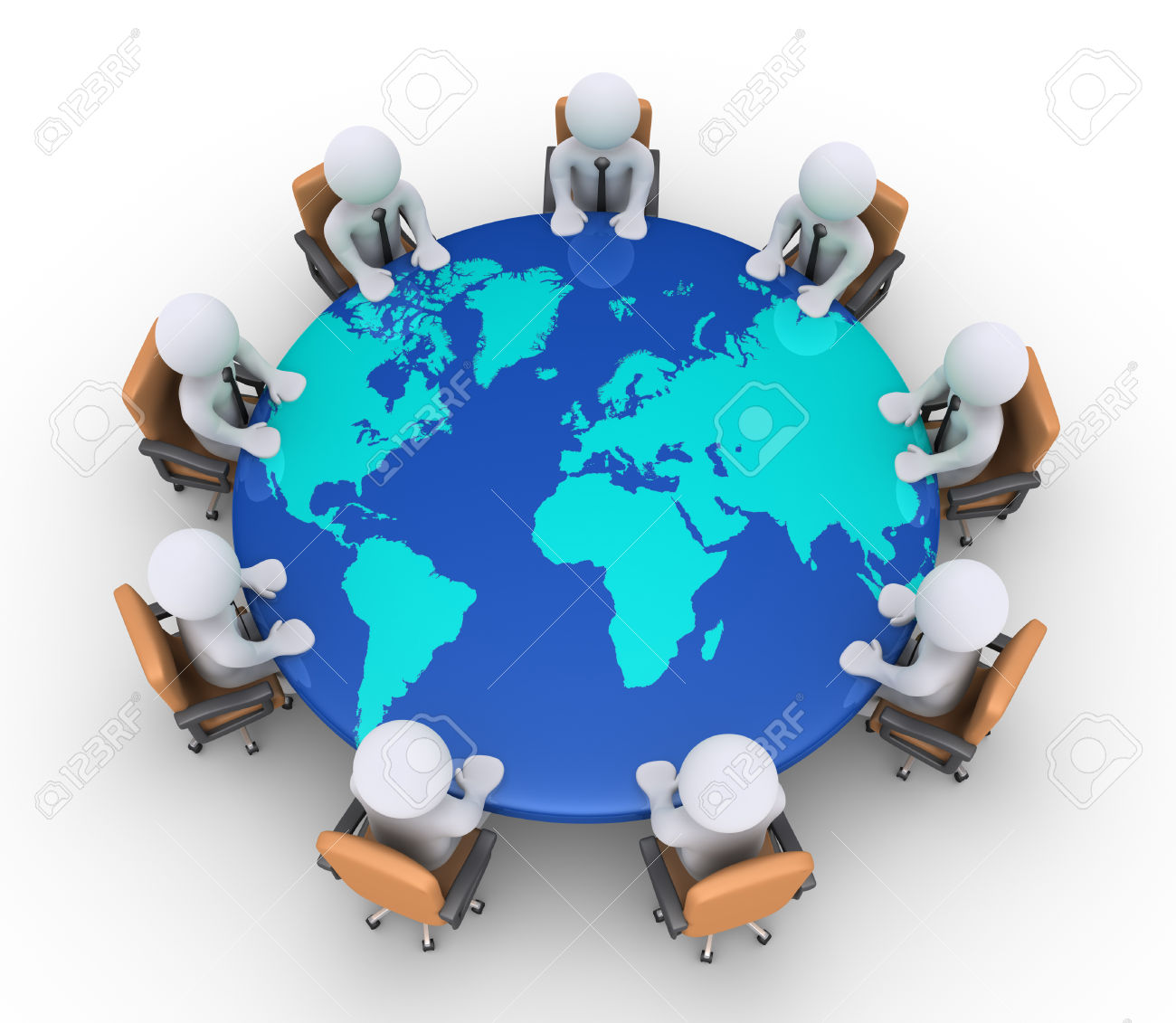 World map round clipart image free 3d Businessmen Sitting On Armchairs And A Round Table With The ... image free