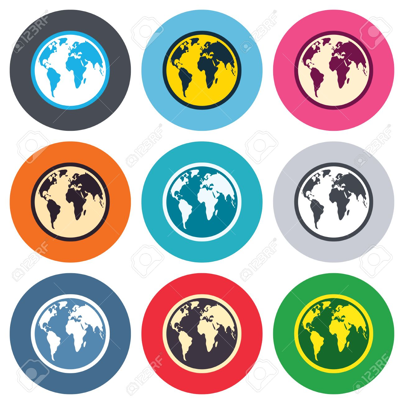World map round clipart clip black and white stock Globe Sign Icon. World Map Geography Symbol. Colored Round Buttons ... clip black and white stock