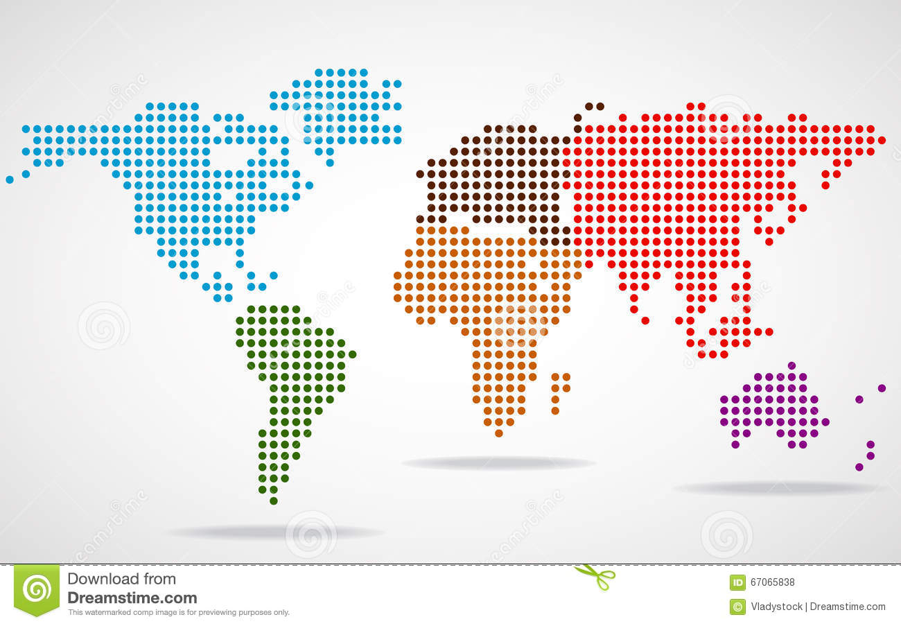World map round clipart vector freeuse Abstract World Map Of Round Dots Stock Vector - Image: 67065838 vector freeuse