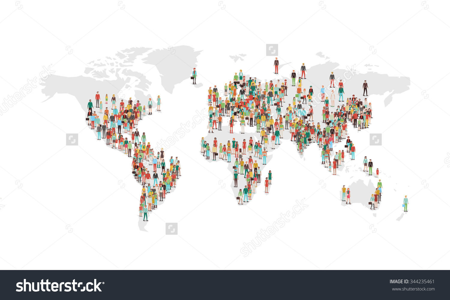World population map clipart clip free library World Population Density Map Vector Characters Stock Vector ... clip free library