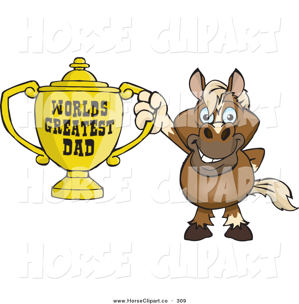 World s greatest dad trophy clipart jpg free download Clip Art of a Cute Horse Character Holding a Golden Worlds ... jpg free download
