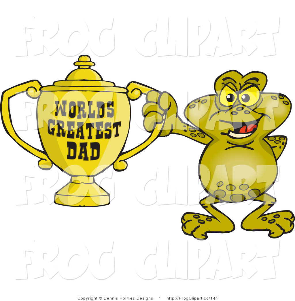 World s greatest dad trophy clipart clip art free library Clip Art of a Green Toad Character Holding a Golden Worlds ... clip art free library