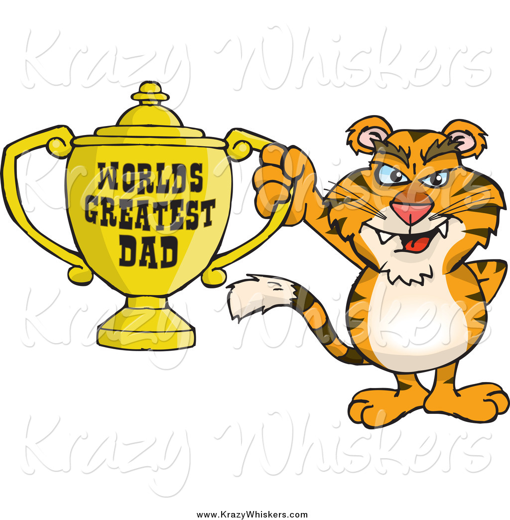 World s greatest dad trophy clipart graphic freeuse Critter Clipart of a Tiger Holding a Golden Worlds Greatest ... graphic freeuse
