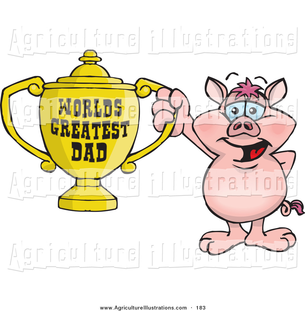 World s greatest dad trophy clipart svg black and white library Agriculture Clipart of a Smiling Pig Character Holding a ... svg black and white library