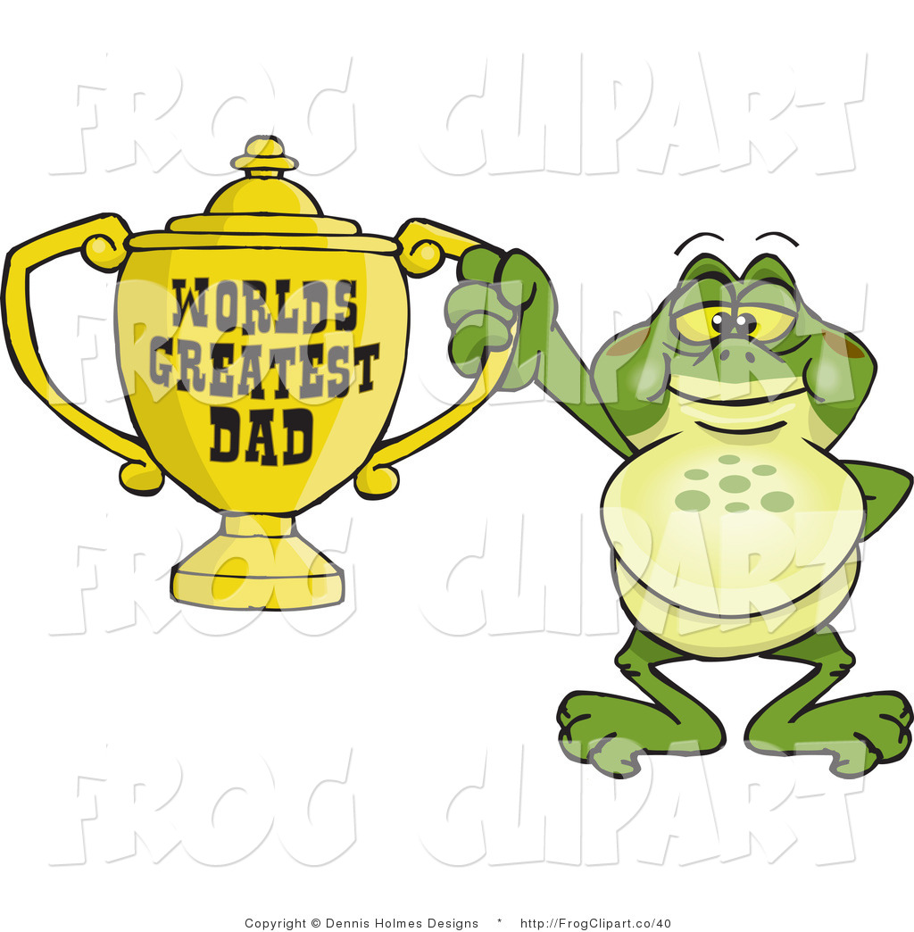World s greatest dad trophy clipart image black and white Clip Art of a Frog Character Holding a Golden Worlds ... image black and white