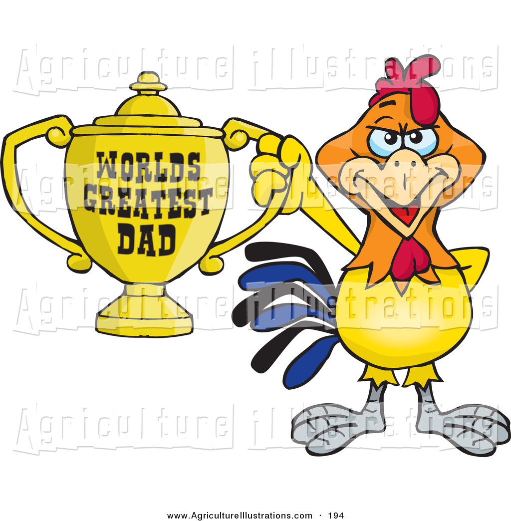 World s greatest dad trophy clipart vector black and white stock Agriculture Clipart of a Cute Rooster Bird Character Holding ... vector black and white stock