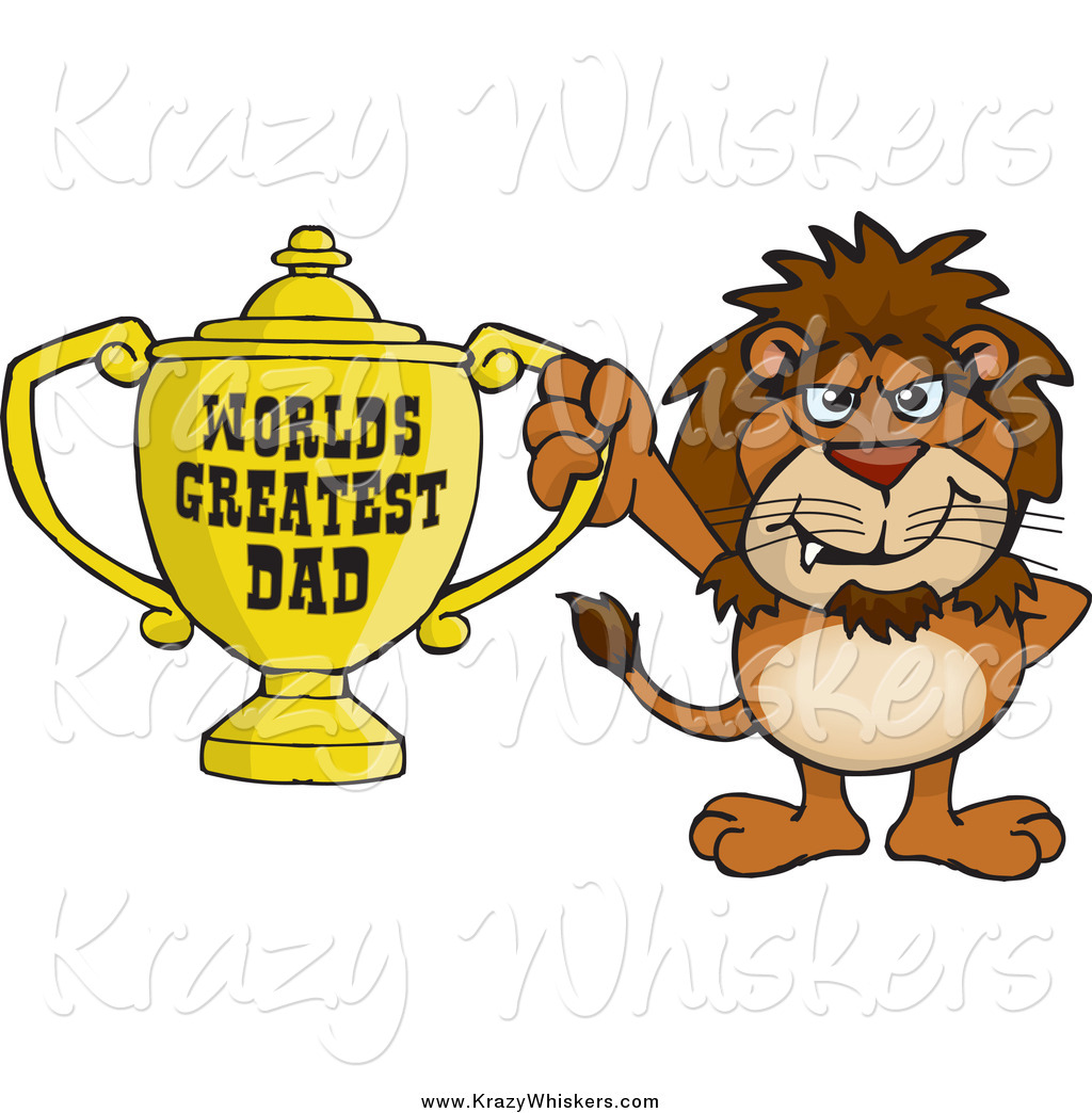 World s greatest dad trophy clipart png stock Critter Clipart of a Lion Holding a Golden Worlds Greatest ... png stock