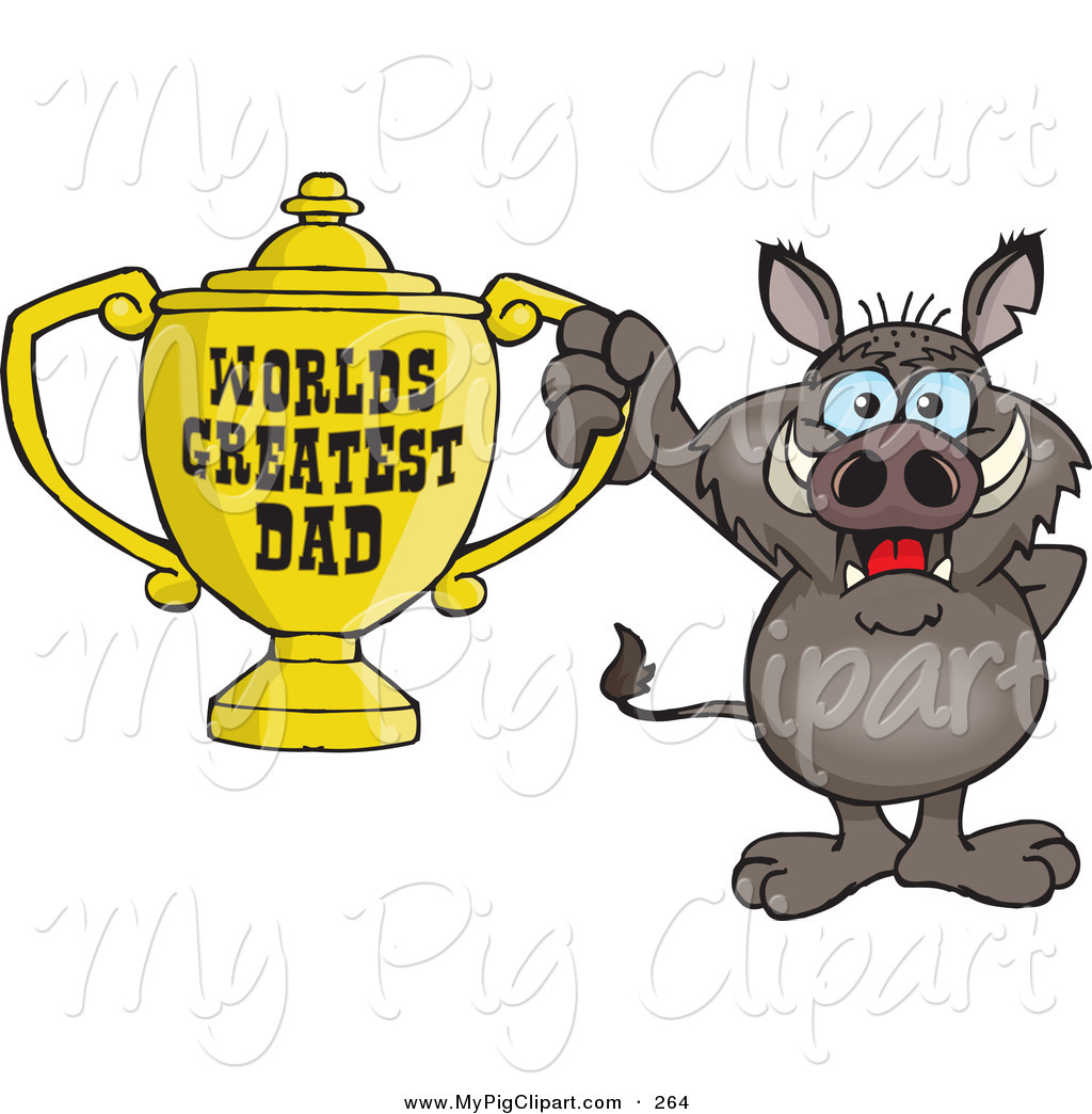 World s greatest dad trophy clipart banner royalty free stock Swine Clipart of a Cute Boar Character Holding a Golden ... banner royalty free stock
