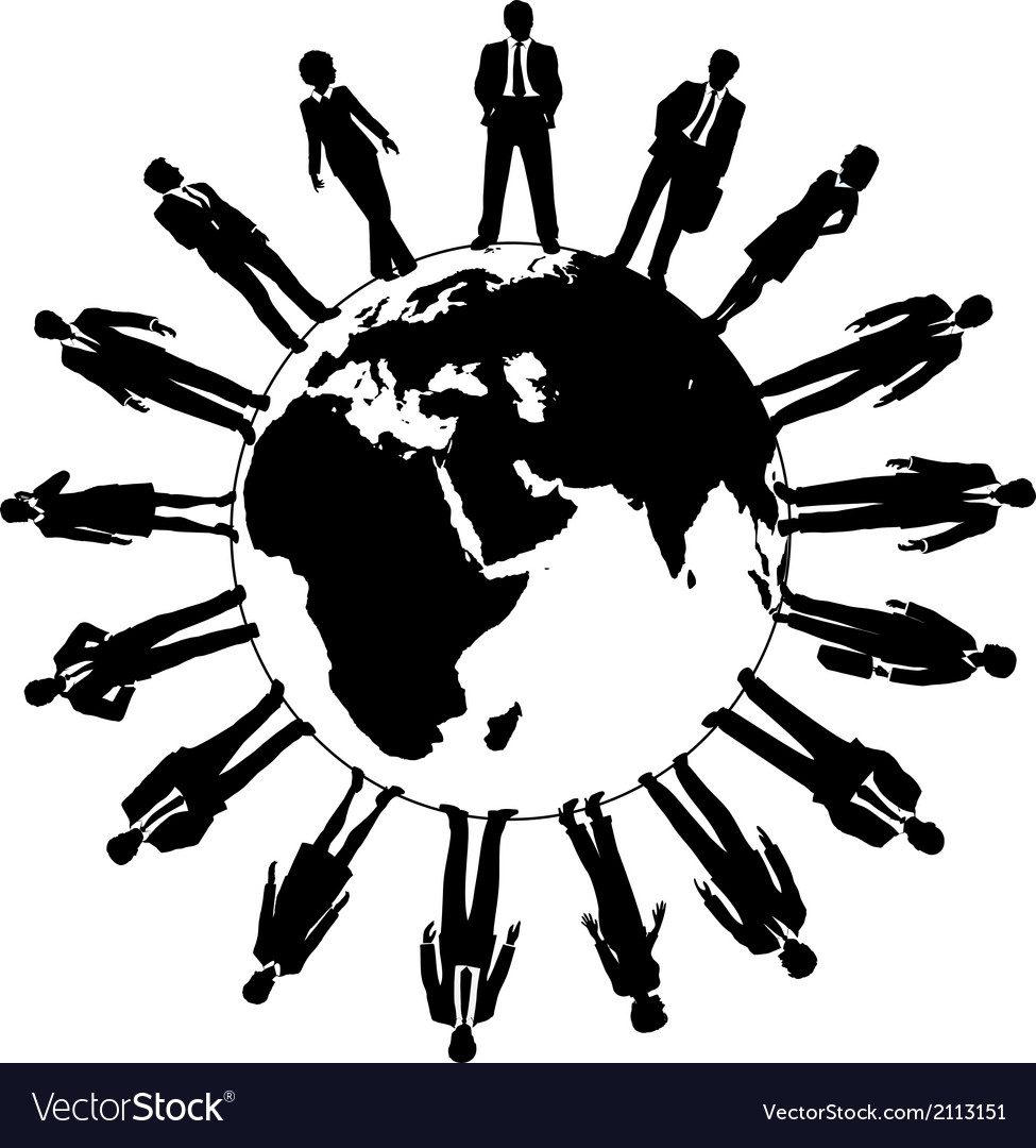 World with people vector black and white clipart clip art freeuse download World business people workforce team clip art freeuse download
