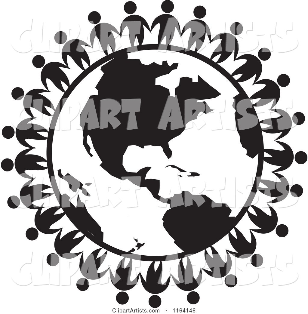 World with people vector black and white clipart jpg royalty free stock Network of Black and White People Standing Around the World ... jpg royalty free stock