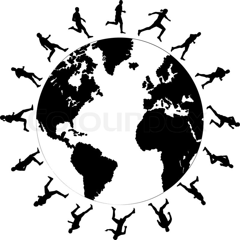 World with people vector black and white clipart vector library download Black silhouettes of running around ... | Stock vector ... vector library download