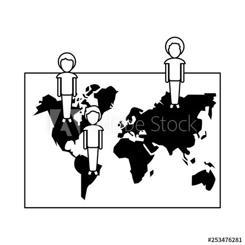World with people vector black and white clipart picture free library people on world map social network in black and white - Buy ... picture free library