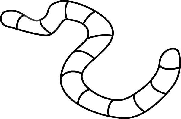 Worm with ahat black and white clipart