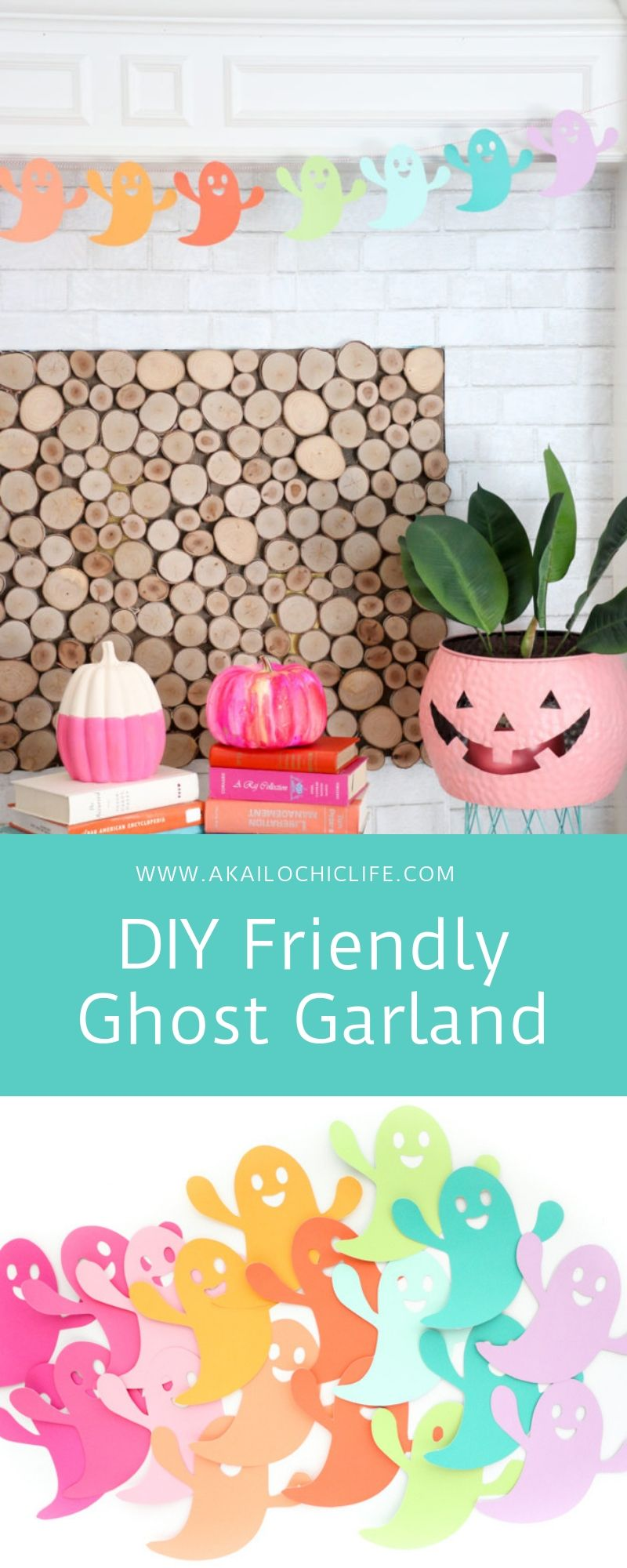 Woven mantle clipart clip art free download DIY Friendly Ghost Garland and Halloween Mantle - A Kailo ... clip art free download
