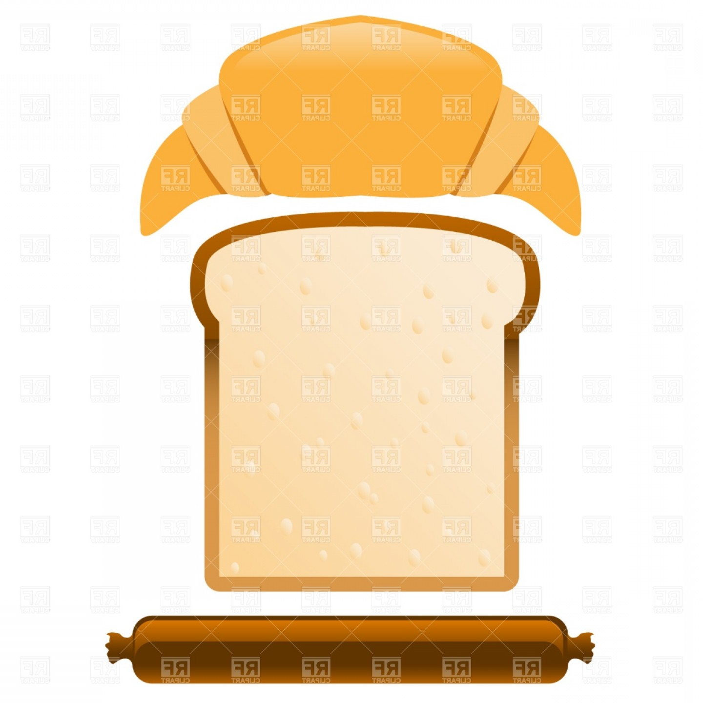 Wrapped loaf ofbread clipart clip freeuse stock Croissant Slice Of Bread And Sausage Vector Clipart | SOIDERGI clip freeuse stock