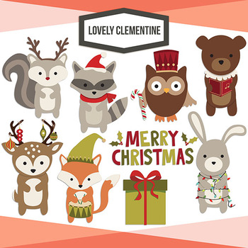 Wrapping well clipart clip transparent stock Woodland Christmas clip art images, line art digital stampsforest animals clip transparent stock
