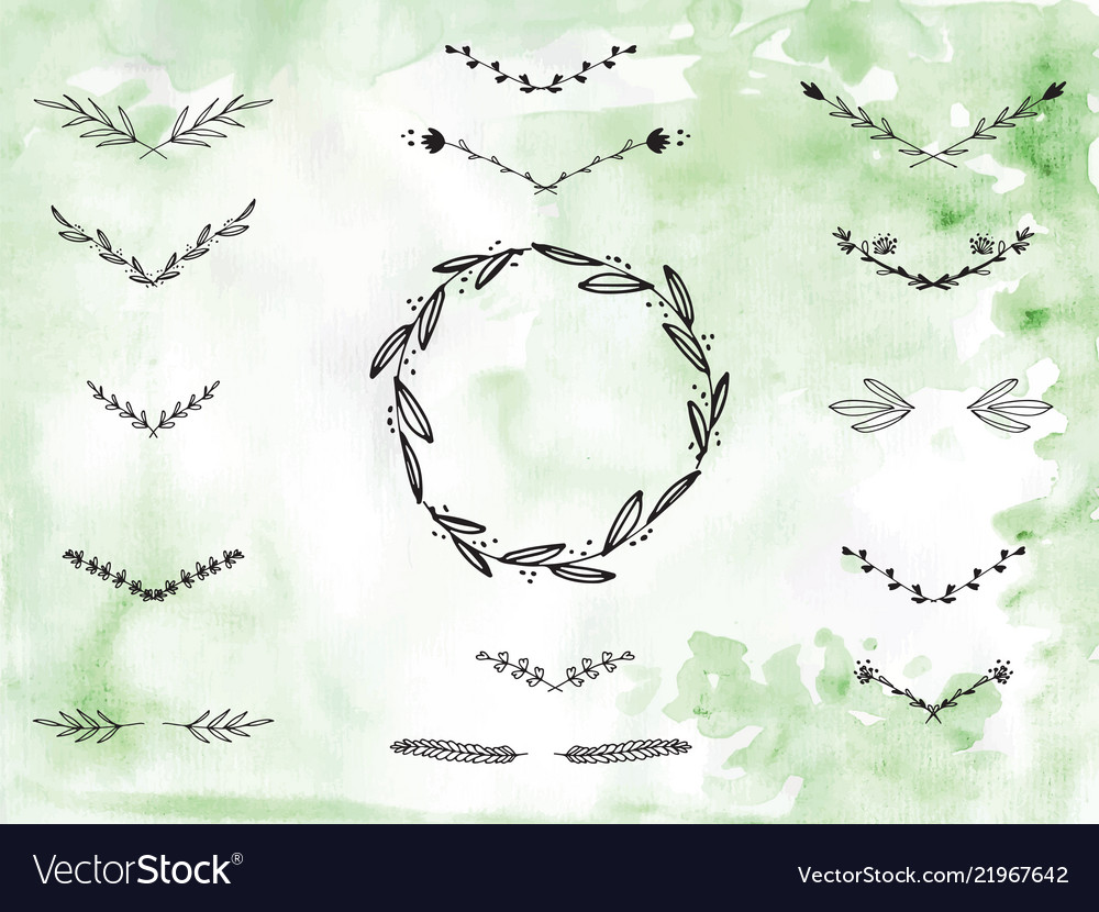 Wreath branches free clipart clip library library Handpainted branches wreath clip art clip library library