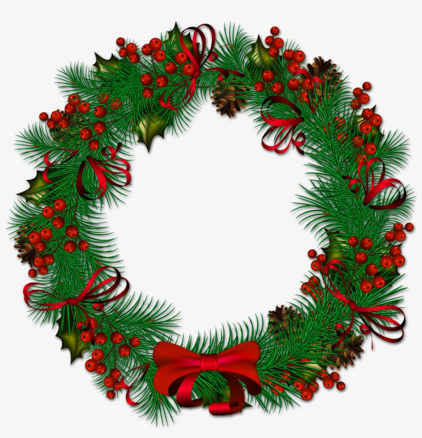 Wreath clipart transparent freeuse Christmas Pinecone With Red Ribbon Is Available ... freeuse