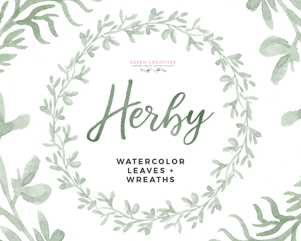 Wreath clipart watercolour clip royalty free stock Watercolor Herbs Clipart, Watercolor Wreath Clipart, Food & Kitchen Art for  Organic Branding clip royalty free stock