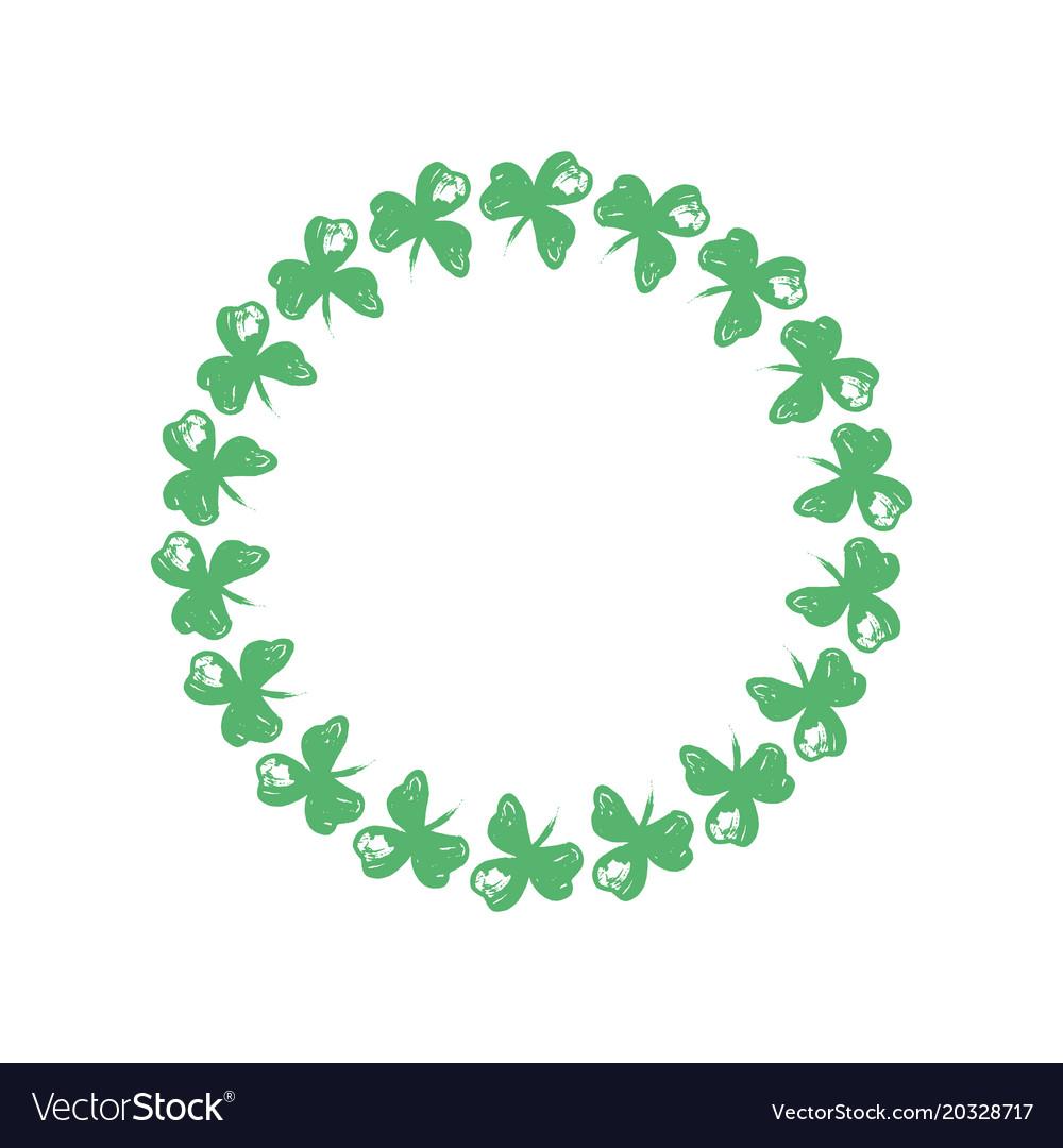 Wreath clover clipart picture transparent download Circle wreath of clover leaves picture transparent download