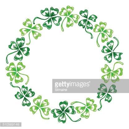 Wreath clover clipart clip art library stock Doodle Green Clover Shamrock Circle Wreath Vector Line Art ... clip art library stock