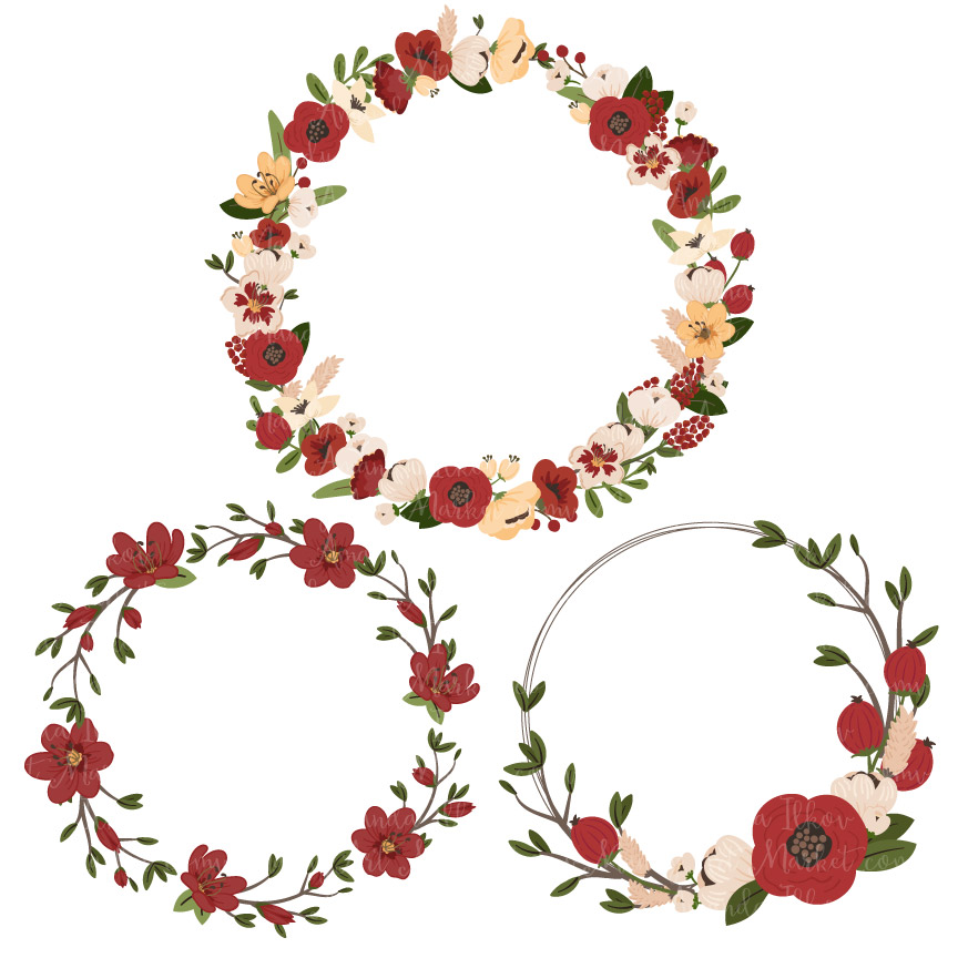 Wreath embellishment clipart vector transparent library Christmas Jenny Pretty Floral Wreath Clipart & Vectors vector transparent library