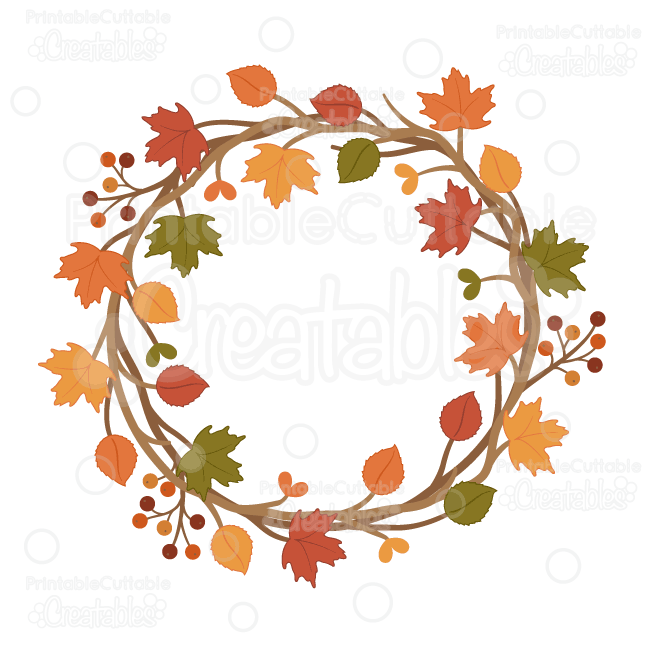 Wreath embellishment clipart clipart library download Autumn Wreath SVG Cuttable Clipart Cut File for Silhouette ... clipart library download