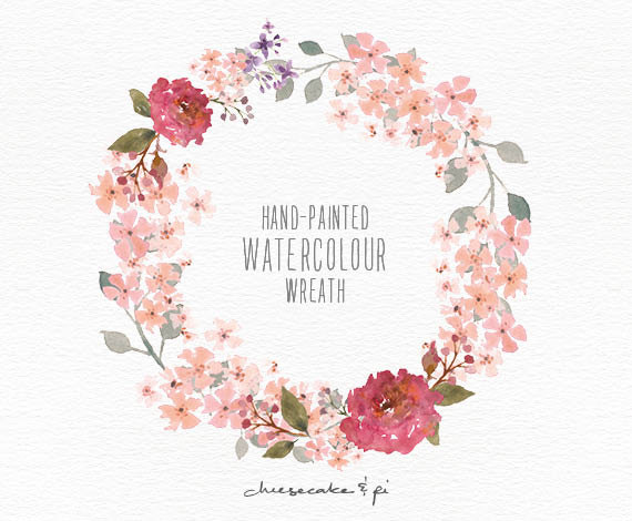 Wreath of flower clipart png image royalty free library Watercolor wreath: hand painted floral wreath clipart / Wedding ... image royalty free library