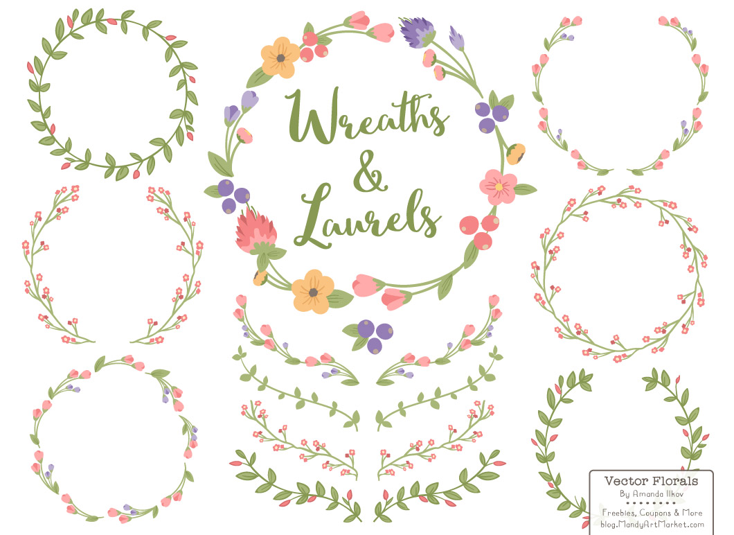 Wreath of flower clipart png png black and white Free Floral Wreath Vectors png black and white