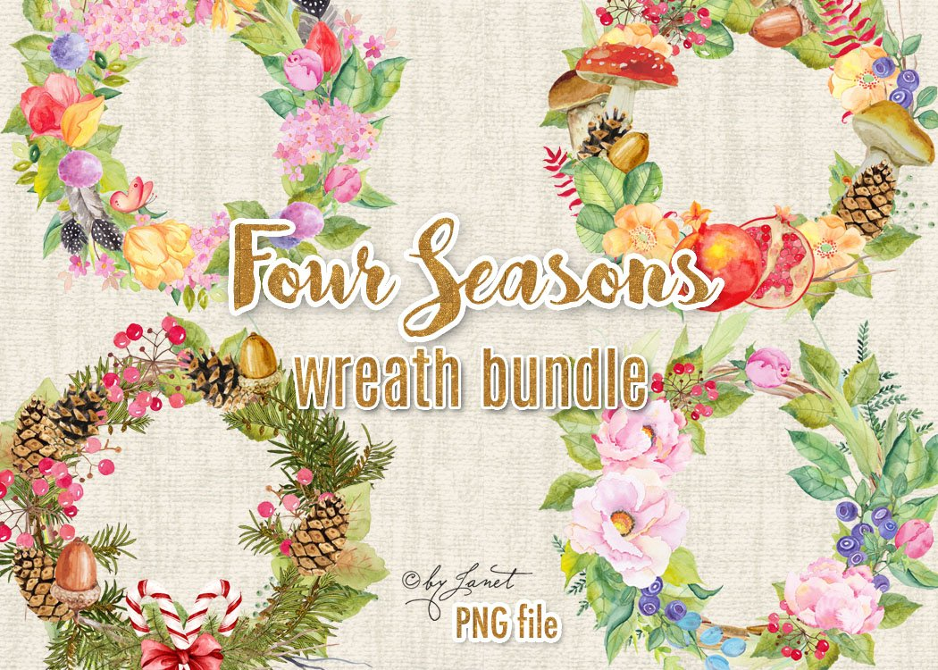 Wreath picture season clipart image royalty free Four Seasons - bundle wreath image royalty free