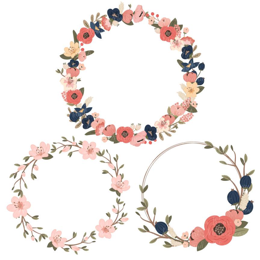 Wreath pictures clipart banner Navy & Blush Jenny Pretty Floral Wreath Clipart & Vectors banner