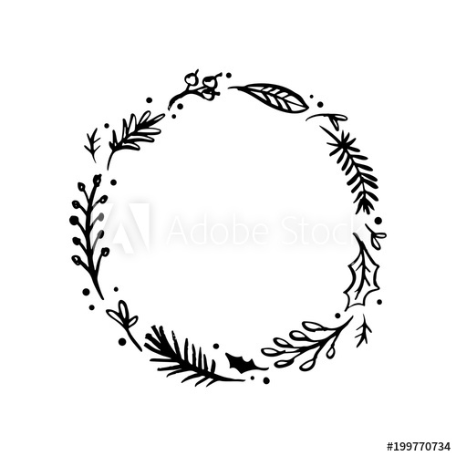Wreath template leaves clipart png royalty free download Floral rustic branch and leaves wreath for wedding ... png royalty free download