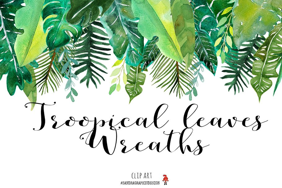 Wreath template leaves clipart clip art black and white download Tropical leaves wreaths clip art ~ Illustrations ~ Creative ... clip art black and white download