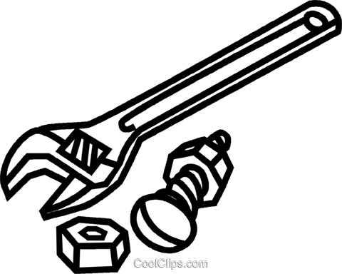 Wrench bolt free clipart jpg royalty free download Adjustable wrench with nuts and bolt Royalty Free Vector ... jpg royalty free download