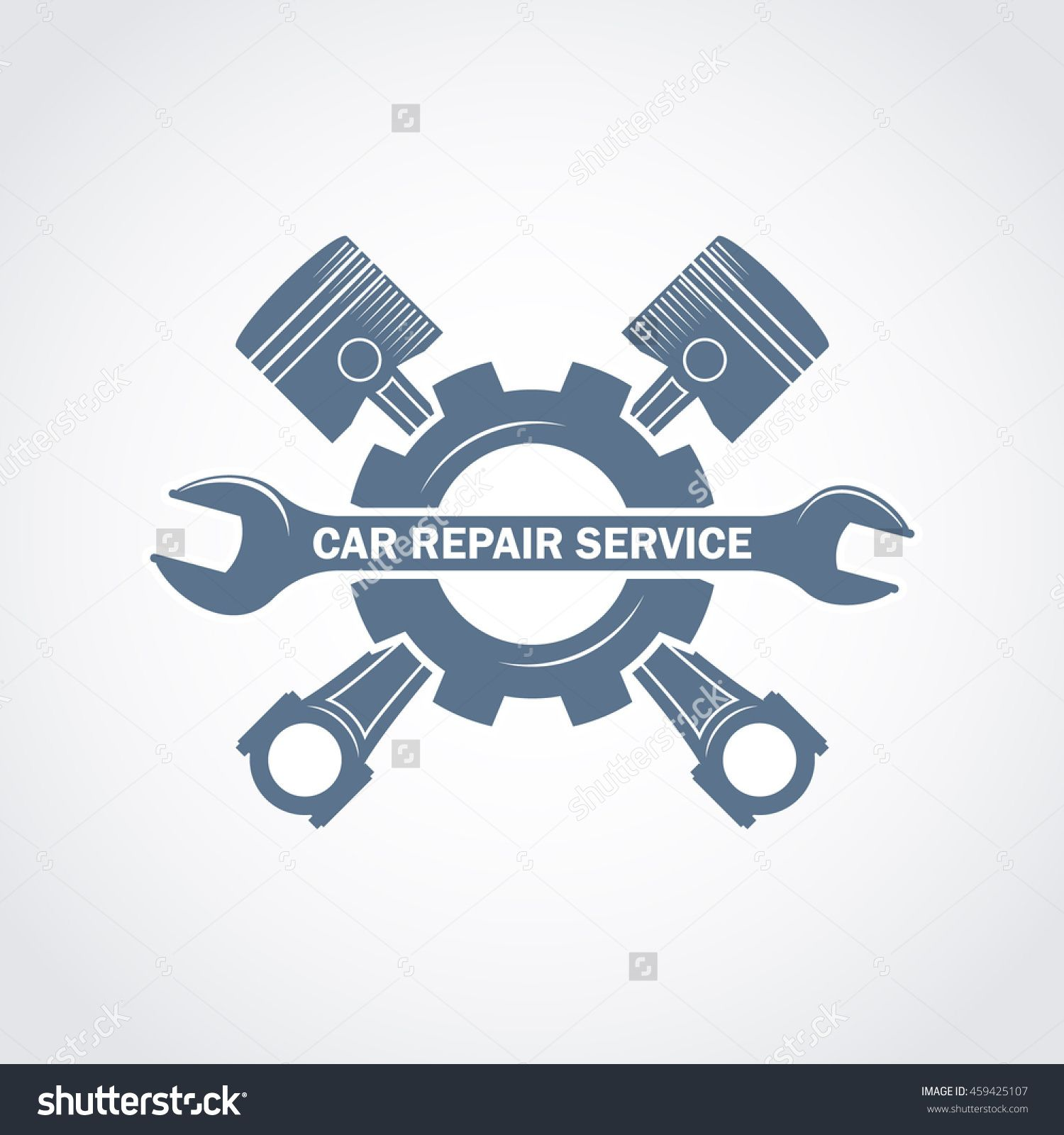 Wrench motor clipart no watermark clipart black and white download vector monochrome car service logo in retro style with a ... clipart black and white download