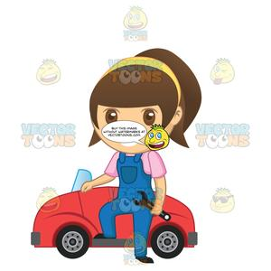 Wrench motor clipart no watermark vector royalty free library Brunette Female Mechanic Holding A Wrench While Standing Next To A Car vector royalty free library