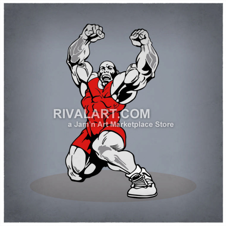 Wrestler cheering clipart clip art royalty free A Wrestler Cheering With Fist In The Air clip art royalty free