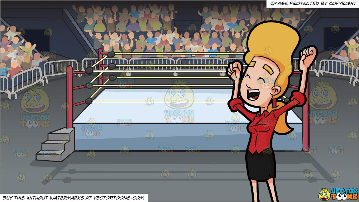 Wrestler cheering clipart clip freeuse A Woman Raising Her Arms Up To Cheer and A Wrestling Ring Inside An Arena  Background clip freeuse